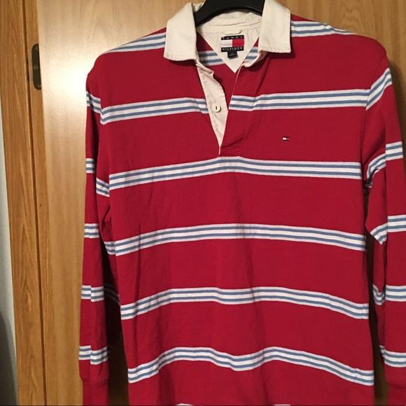 c4839bef Vintage Tommy Hilfiger Long Sleeve Polo Red Blue M.  M_5b0224955512fd2cfac25e32